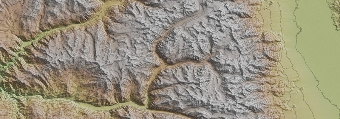 Sample image of GIS terrain map for GIS certificate program